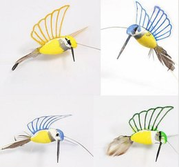 Wholesale Resin Birds Decorations - 1 piece new Creative Solar Hummingbird Flying Fluttering Birds Resin Home and garden Decoration free shipping