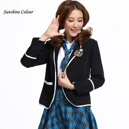 2019 abrigos de estilo de las mujeres japonesas Al por mayor-2016 de alta calidad caliente de muy buen gusto japonés uniforme escolar de las mujeres chaqueta de bombardero del traje de la marca mujer abrigo de la chaqueta más el tamaño S-3XL abrigos de estilo de las mujeres japonesas baratos