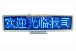 "Wholesale Led Programmable Scrolling Message Signs - 16.7"" Scrolling LED Moving Sign Rechargeable Edit By PC Message Programmable Display Desk Board 16 by 96 dots Blue LEDs Free shipping"