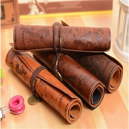 Wholesale Vintage Office Supplies - Vintage Retro Treasure Map Pencil Cases Luxury Roll Leather PU Pen Bag Pouch For Stationery School Supplies Make Up Cosmetic Bag