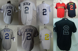Wholesale Online Cheapest Shorts - Hot Sale #2 Derek Jeter Jersey All Star Blank black white grey Baseball Jersey Best Quality New Cheapest Online