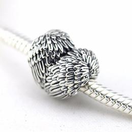 Canada Perles lâches s'adapte aux authentiques breloques Pandora Bracelet 100% perles en argent sterling 925, breloque coeur, détails d'aile d'ange bricolage original cheap pandora heart wings Offre