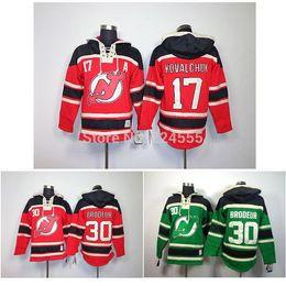 Wholesale Hockey Hooded Sweatshirts - 2016 New, New Jersey Devils Hoodie Jersey 17 Ilya Kovalchuk 30 Martin Brodeur Hoodie Hockey Hooded Sweatshirt stiched Jersey M-XXXL