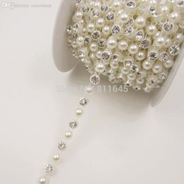 Wholesale-Pearl and Rhinestones chain, plastic cup chain, clear crystal pearl 10yards roll DIY jewelry  mobile beauty shoes accessories Deals