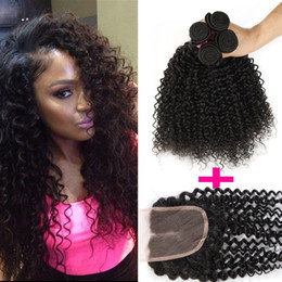 Wholesale Hair Closure Parting - 7A Brazilian Curly Virgin Hair 3 Bundles With Lace Closure Free Or Middle Part Brazilian Kinky Curly Virgin Hair Brazilian Curly Human Hair