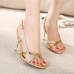 Wholesale Cheap Toe Sandals - New fashion high heels sandals gold shoes dress shoes 10CM sexy wedding shoes cheap glitter shoes EU34-39 ePacket shipping