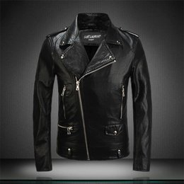 Wholesale Race Leather Jacket - 2018 Top motorcycle leather jackets Punk Front zipper Biker Rider Leather Vintage MEN'S outwear WINDBREAKER embroidery RACING coats