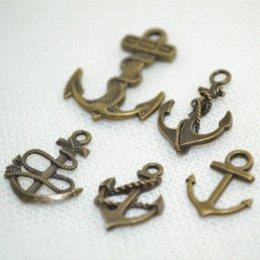 Wholesale Bronze Nautical - Mix wholesale 20*5pcs lots antique bronze alloy charms nautical anchor pendants for Bracelets jewelry making Z42380
