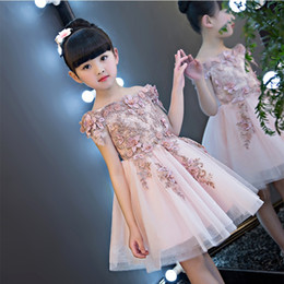 Wholesale Shoulderless Wedding Dresses - Glizt Girls Shoulderless Wedding Dress Bead Appliques Party Tulle Princess Birthday Dress First Communion Gown for Girls