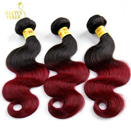 Wholesale 99j Human Hair Wavy - Ombre Malaysian Human Hair Extensions 2 Two Toned 1B 99J Burgundy Red Grade 8A Malaysian Body Wave Virgin Hair Weave Wavy Free Shipping