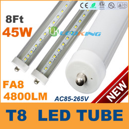 Wholesale Dimmable Led T8 - Dimmable LED Tube T8 45W 8ft 2400mm Single pin FA8 2.4m LED fluorescent tube lamp SMD2835 AC85-265V CE RoHS FCC UL 100 lot