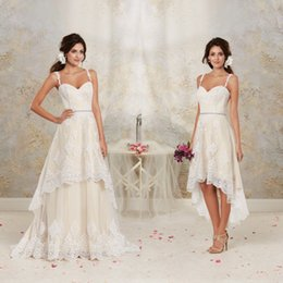 Wholesale Short Lace Champagne Bridal Dress - 2015 Short High Low Wedding Dresses with Detachable Skirt A Line Vintage Bridal Gowns Spaghetti Straps Champagne Ivory White Crystals Sash