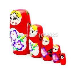 Wholesale Russian Wooden Dolls Set - Lovely Red Russian Nesting Matryoshka 5-Piece Wooden Doll Set Hand painted Home decoration,Wood crafts,Birthday gifts