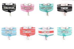 Wholesale Free Country - Infinity Bracelets Country Girl Cow Girl Bracelets Weaven Wrist Charm Bracelets Mix Colors Drop Free Shipping