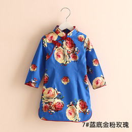 Wholesale Chinese Tang Suit Style Child - 20 Brand 2016 Spring China Tang Suit Female Children Long-sleeve Cheongsam Girl Dress Kids Princess Dresses Children's Clothing