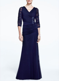 Wholesale Chiffon Embellishments - Sexy Chiffon Illusion 3 4 Long Sleeve Ruched Dress with Side Embellishment V-Black Mother Of The Bride Evening Dresses Formal Gown