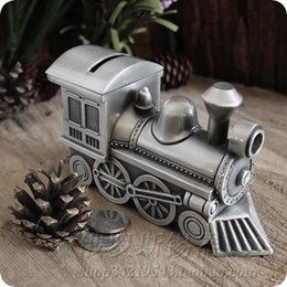 Wholesale Money Tins - Vintage Tin metal Money box train Locomotive coin piggy bank Saving Box creative gift birthday gift Home decoration