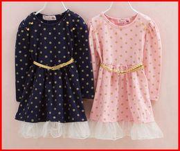 Wholesale Girls Long Sleeved Lace Dress - Fedex UPS Ship 2016 Hot Sale Girls Long Sleeved Gold Dot Belt Dresses Girls Polka Dot dresses with belt Children Navy Blue Pink Dresses 2-8T
