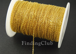 Wholesale Soldering Plate - factory 10M(32ft) 1.5mm Gold Plated Brass Soldered Chain Flat Cable Chain Necklace C09 free shipping