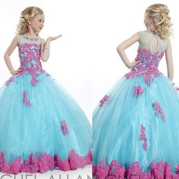 Wholesale Two Toned Pageant Dresses - 2015 Two-Tone Crystal Girl's Pageant Dresses Red and Blue Flower girl's Dress rachel allan A-Line Jewel Ruffled Pageant Gowns Sweep Train