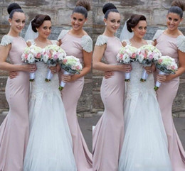 Wholesale Gold Belted Evening Gowns - 2016 Cheap Pearl Pink Long Bridesmaids Dresses Mermaid Bateau Beaded Capped Sleeves Belt Sweep Train Custom Made Prom Evening Gowns