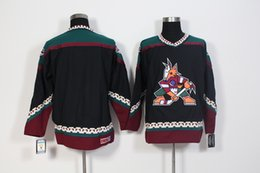 Wholesale Coyote Hockey - New Arizona Coyotes Throwback Jersey No Name No Number Hockey Jerseys Black And White Color By CCM Size 48-56 Stitched Mix Order All Jerseys