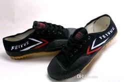 Kung fu weiß schwarz online-Feiyue Ultra leichte Canvas Sneaker Schuhe für Männer und Frauen, für Kung Fu, Kampfsportarten und Freizeitsport   Klassisches Schwarzweiss-Tropfenschiff