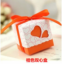 Wholesale Favour Box Chocolates - Free shipping 100pcs Orange Heart Wedding Favor Candy Boxes with Ribbon Baby Shower Paper FAVOUR box gifts chocolate box