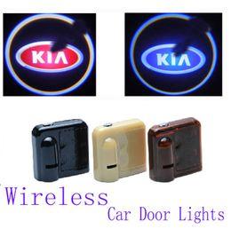 Rio iluminación online-inalámbricos del coche LED luces de puerta para Kia K2 K3 K5 rio Sportage Cerato Sorento Serie Ceed proyector de la insignia Bienvenido Proyector de luz automático Sombra