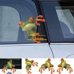 Wholesale Animal Graphics - Car 3D Peep Frog Funny Car Stickers Truck Window Decal Graphics Sticker Car Styling Sticker