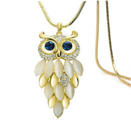 Wholesale Sapphire Tennis Necklace - Owl full crystal Pendant necklace Vintage 18K Gold Plated cute kitten opal Diamond necklaces fashion Sapphire Jewelry chain