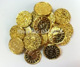 Wholesale Kids Pirate Ships Toys - Wholesale- Free ship cool 100pc plastic pirate treasure AZTEC gold coins props toys for Birthday party favors cosplay kids hours fun