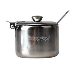 Wholesale Stainless Steel Sugar Bowls - Wholesale-EA14 Mini Stainless Steel Pot Tea Sauces Coffee Jam Lid Salt Spoon Bowl Sugar I