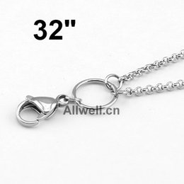 Wholesale Custom Necklace Wholesale - Wholesale-Free shipping 32 inches Stainless Steel 80cm SILVER CUSTOM Rolo Chain FLoating Locket Chain Necklace Chain