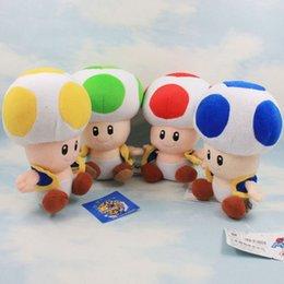 "Wholesale Super Mario Toad Plush - Super Mario Brothers Bros 7"" Mushroom Toad Plush Doll Toy 4 Styles"