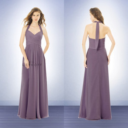 Wholesale Bill Levkoff 14 - Bill Levkoff 2015 Halter Beach Chiffon Long Bridesmaid Dresses A Line Plus Size Maid of Honor Formal Gowns EA0075