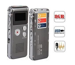 Wholesale Digital Audio Voice Recorder Mp3 - Digital Audio Voice Recorder Multifunctional Rechargeable 8GB Memory 650HR Dictaphone MP3 Player Free DHL Fast Shipping