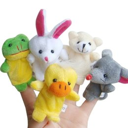 Wholesale Wholesale Stuffed Animals For Babies - 10pcs cartoon animal finger puppet plush toys Children Baby Favor Dolls finger dolls for kids Family Finger Puppets set free shipping