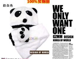 Wholesale Panda Gloves - Wholesale-Retail baby hat scarf set, Winter baby hat panda shaped cotton balaclavas hat scarf 2 piece set ,free shipping