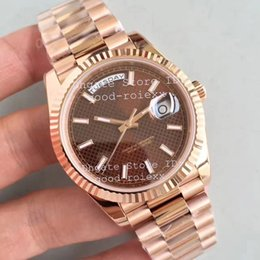 Wholesale Chocolate Wristwatch - Men's Luxury Watches Noob Factory Automatic Cal.3255 Men Chocolate Diagonal Motif Dial Day Time Date 228235 Watch 18k Rose Gold Wristwatches