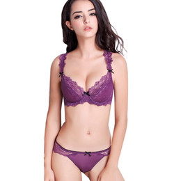 e4420a5daf08 France brand underwear women bra set plus size sexy ultra-thin transparent  push up lace bra and panty set BCD cup 32-38 cheap pink color bra panty set