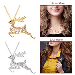 Wholesale Clips For Necklace Charms - U7 Leaping Deer Pendant Necklace Brooch AAA Cubic Zirconia Gold Platinum Plated Deer Charm For Women Christmas Gift P2499
