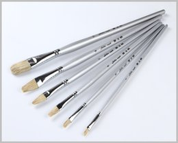 Wholesale Chinese Professional Hair - Wholesale-6pcs lot Professional Natural Bristles Hair Chinese Painting aqua Brush oil brushes palette acrylic rod paint brush arte