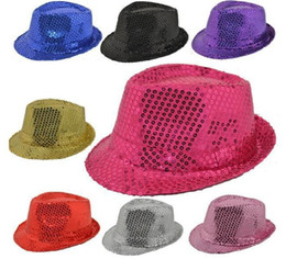 Wholesale Kids Black Fedora Hats - Boys Girls Children Unisex Fedora Hats Panama Jazz Caps Stylish Kids Cool Magic Paillette Sequins Hats Red Black Blue Golden Silver D4431