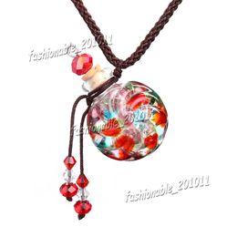 Wholesale Vintage Necklace Bottle - Red Round Glass essential oil diffuser necklaces flowers vial pendant necklace aromatherapy pendant vintage perfume bottle pendant