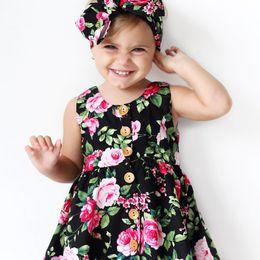 Wholesale Dress Baby Band Flower - Everweekend Ins Hot Kids Girls Print Flowers Princess Sleeveless Summer Dress with Hair Band Ribbon Western Baby Dress