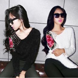 Canada Gros-Automne Hiver des femmes doux crochet rose fleurs chauve-souris chandail Slim col en V Mohair chandail de la mode féminine pull tops Offre