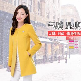Wholesale Collarless Womens Coats - 2015 autumn winter new collarless woolen coat slim size Womens Ladies cardigan in long woolen coat
