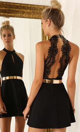 Wholesale Sparkling Sashes - Lace cocktail dresses 2017 Sexy short Mini Dress Black with Sparkling golden Ribbon cocktail party dresses Custom Made