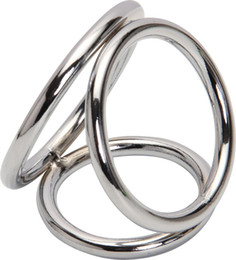 Wholesale Cock Clamps - Wholesale Penis Ring Stainless Steel Metal 3-loops Chastity Lock,penis Clamp Cock Ring Cock Clamp Adult Game Sex Toys For Male A29